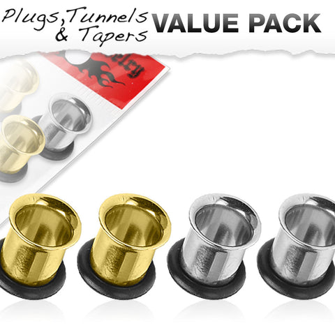 4 Pcs Value Pack of 316L Steel and Gold IP Single Flared Tunnels