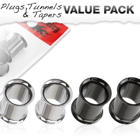 4 Pcs Value Pack of 316 Steel and Black Titanium IP Over 316L Stainless Steel Double Flared Plugs