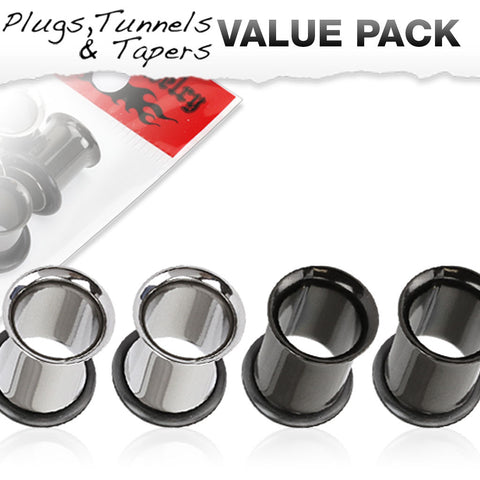 4 Pcs Value Pack of Steel and Black Titanium IP Over 316L Stainless Steel Single Flared Plugs