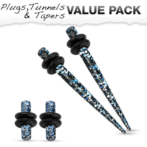 Blue & Black Splatter Plugs & Tapers Value Pack