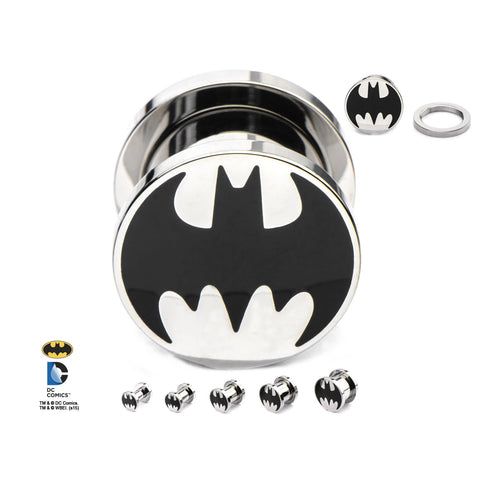 Batman Logo(black) on stainless steel screw fit plugs.  Sold in pairs.