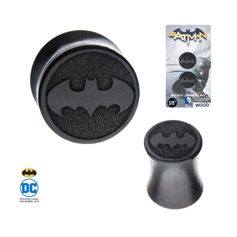 Batman Double Flared Iron Wood Plugs.  Sold as Pair.