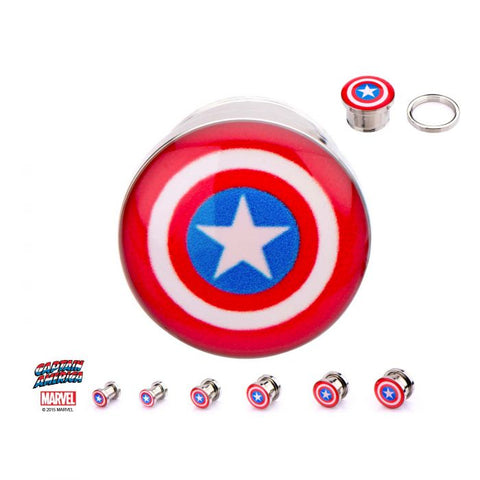 Captain America Logo Fronts Screw Fit Steel Plugs- Sold as a pair.