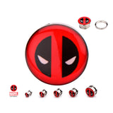 Deadpool Logo Fronts Screw Fit Steel Plugs. Sold as Pairs