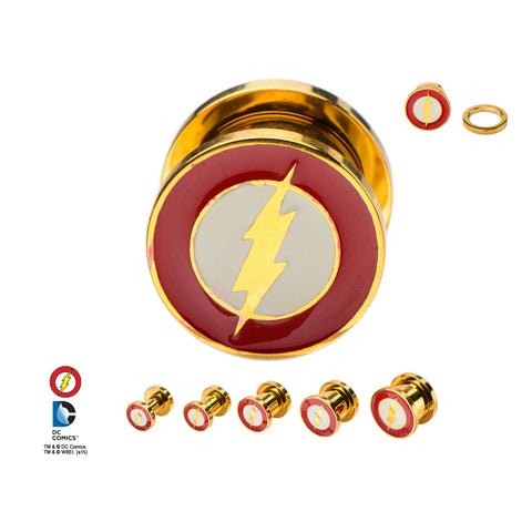 Flash Logo Front -DC comics- Plugs-screw fit.  Sold in pairs.