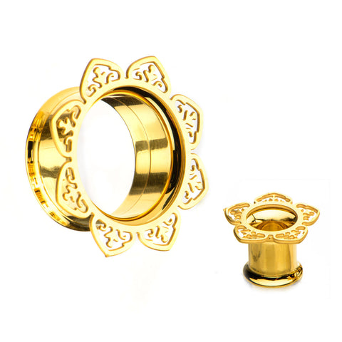 Double Pointed Filigree Gold Plated Front-Screw Fit Tunnels-Sold as a pair