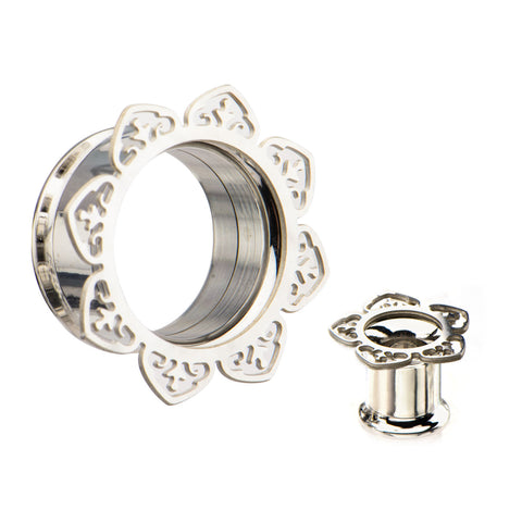 Double Pointed Filigree Front-Screw Fit Tunnels-Sold as a pair