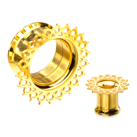 Double Circular Filigree Front-Gold Plated Screw Fit Tunnels-Sold in Pairs