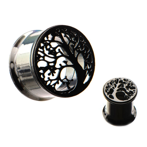 Tree of Life Black Screw Fit Tunnels-Sold in Pairs