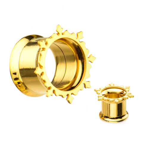 Tribal Ornamental Gold Plated Screw Fit Tunnels-Sold as a Pair