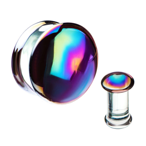 Oil slick Glass Plugs. Sold as Pair.