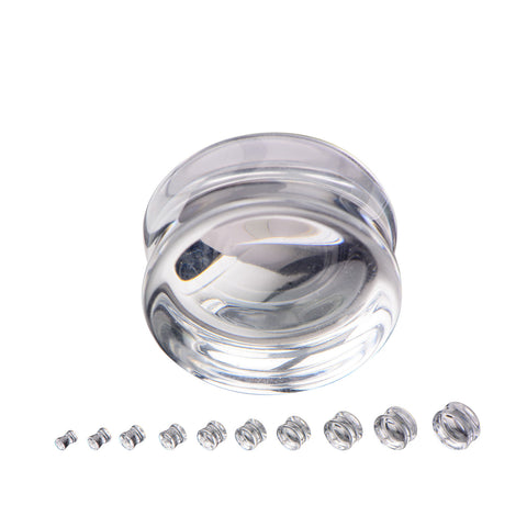 Clear Glass Saddle Plugs- Sold in pairs