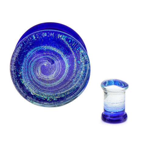 Blue Swirl Glass Plugs-Double Flared-Sold as a pair