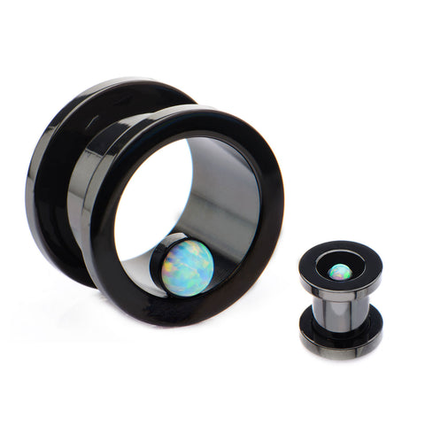Black Tunnels with small Bezel Set Opalite-Screw Fit-Sold in Pairs