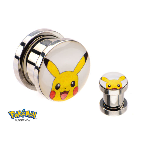 Pokemon Pikachu Face Screw Fit Plugs-Sold in pairs