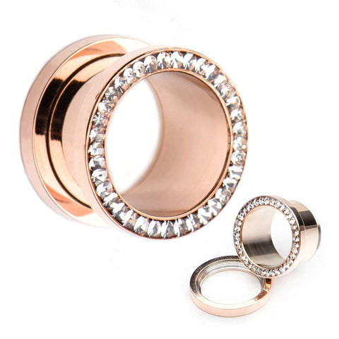 Rose Gold Plated Multigem Clear CZ Plugs.  Sold as a Pair.