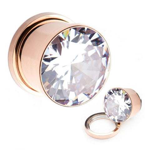 Rose Gold Plated CZ Gem Threaded Plugs.  Sold as a Pair