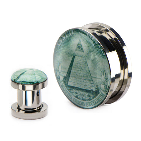 Pyramid Eye Front Screw Fit Steel Plugs-Sold as a pair