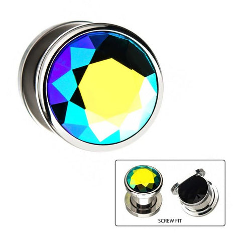 Blue and Aurora Borealis Iridescent CZ Screw Fit Plugs- Sold as Pair.