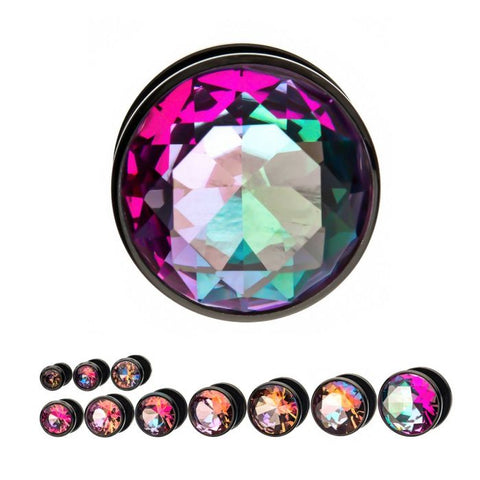 Peach/Light Purple/Pink and Green CZ Black Plated Plugs