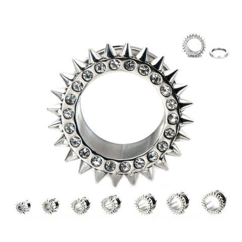 Clear Gems and Spikes Tunnels - Sold in Pairs