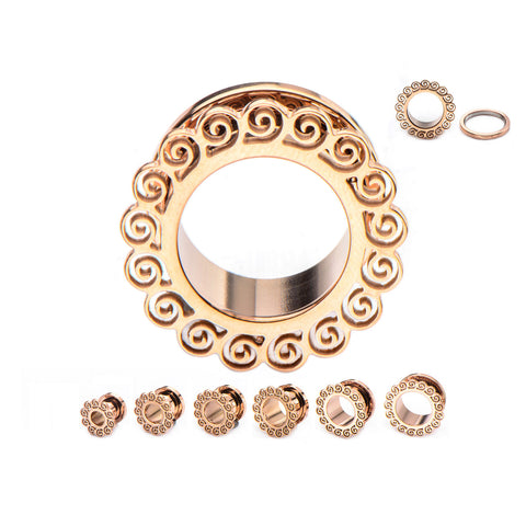 Rose Gold Tendrillar Ornament TunnelsSold in pairs Plugs Only
