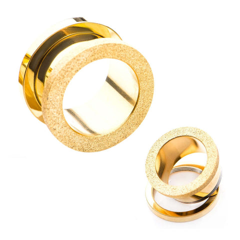Gold Plated Sand Finish Screw Fit Plugs.  Sold as a Pair.