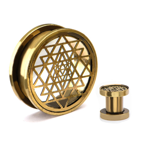 Sri Yantra Design Brass Finish Screw Fit-Sold as a pair.