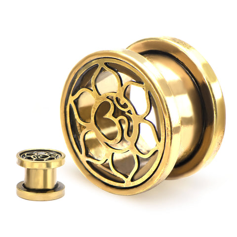 Ohm Flower Brass Finish Screw Fit-Sold as a pair
