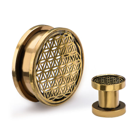 Flower of Life Brass Finish Screw Fit-Sold as a pair