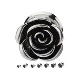 Metal Rose double flare plugs.  Sold in pairs.