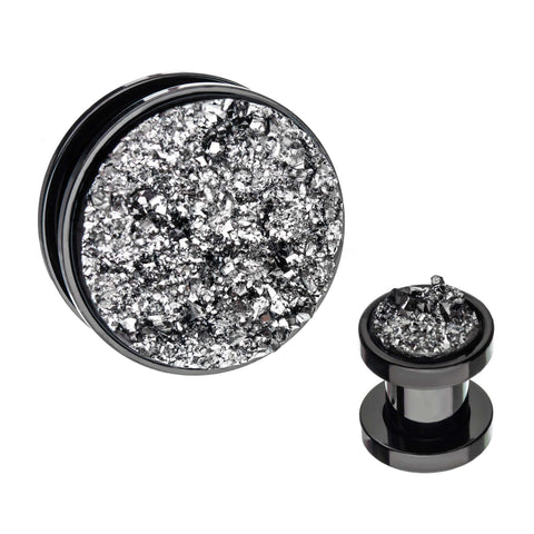 Faux Druzy Silver Screw Fit Plugs.  Sold as Pair