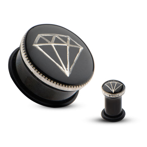 Diamond design inlay single flare plugs.  Sold in Pairs.