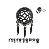 Dreamcatcher Front and Feather Dangles Plugs- Black- Sold in pairs