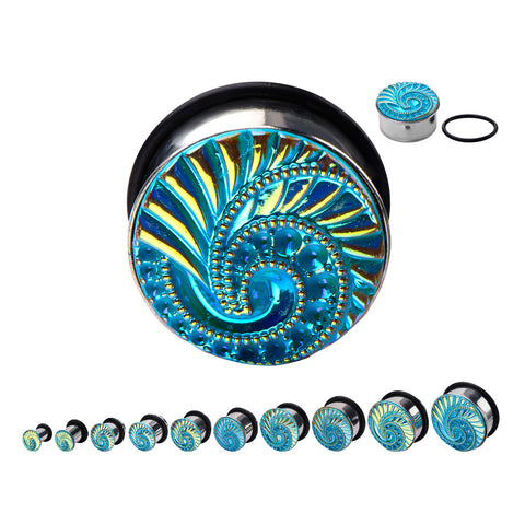 Aqua Swirl Front Plugs- Sold in pairs