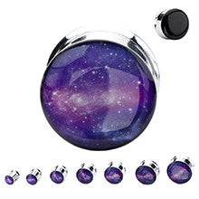 Double Flare Steel Plugs with Printed Purple Galaxy Front - Sold in Pairs