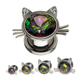 Cat Head with Vitrail Medium Gem Threaded Plugs- Sold as Pair