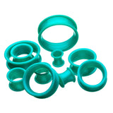 Green-Blue (version 3) Silicone Tunnels.   Sold as a Pair.