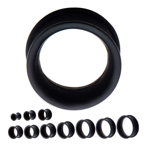 Black Silicone Thick Wall Wearable Tunnels-Sold as a pair