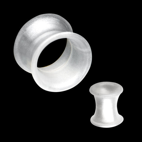 Metallic White Pearl  Double Flare Medium Thick Wall Silicone plugs.