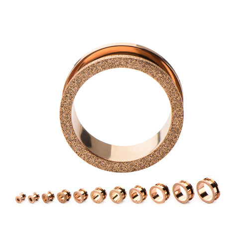 Rose Gold Diamond Dust Screw Fit Steel Tunnels
