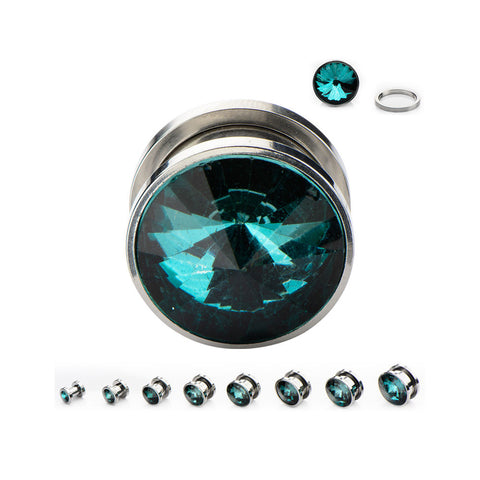 Rivoli Gem Plugs with Montana Blue Gem - Sold in Pairs