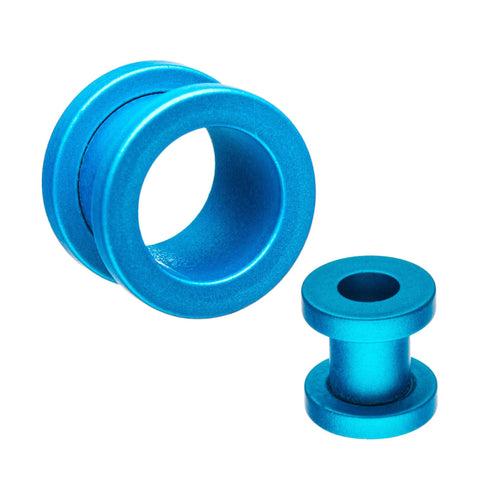 Aqua Silicone Coated Screw Fit Plugs.  Sold as a Pair.