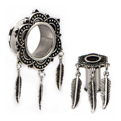 Antique Silver Bali Tunnels and Feather Dangles-Sold as a pair