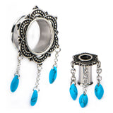 Antique Silver Bali Tunnels and Turquoise Dangles-Sold as a pair