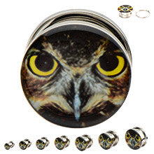 Steel Screw Fit with an Owl Graphic Plugs - Sold in Pairs