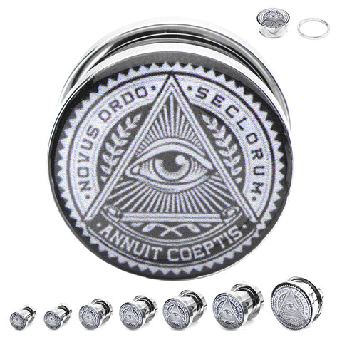 All Seeing Eye Graphic Plugs - Sold in Pairs xx
