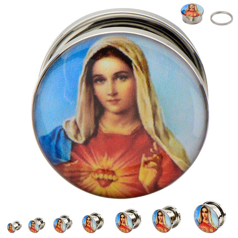 Virgin Mary Graphic Steel Screw Fit Plug. Sold as a pair
