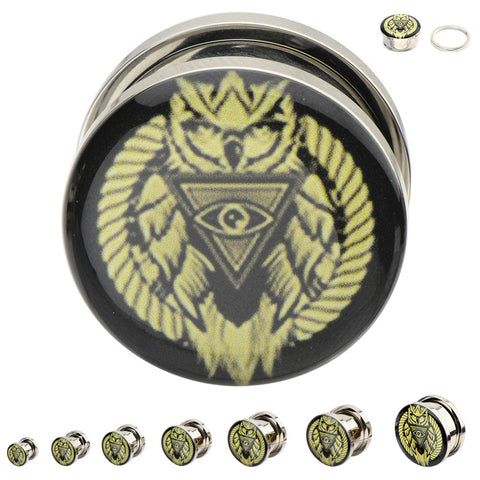 All Seeing Owl Graphic Plugs - Sold in Pairs