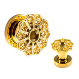 Cut Out Gold Petal Front Screw Fit Plugs- Sold as a pair.